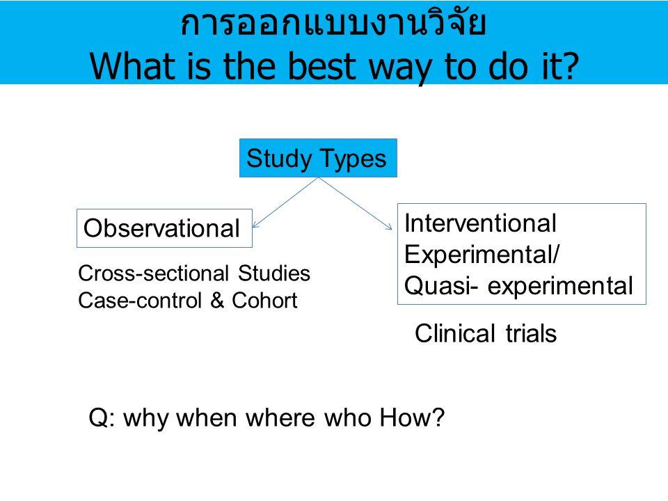 การออกแบบงานวิจัย What is the best way to do it? Study Types Observational Interventional Experimental/ Quasi- experimental Cross-sectional Studies Ca