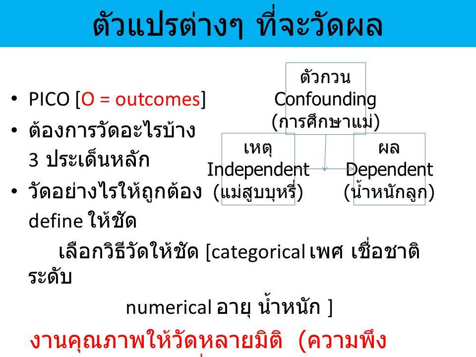 ตัวแปรต่างๆ ที่จะวัดผล PICO [O = outcomes] ต้องการวัดอะไรบ้าง 3 ประเด็นหลัก วัดอย่างไรให้ถูกต้อง define ให้ชัด เลือกวิธีวัดให้ชัด [categorical เพศ เชื่อชาติ ระดับ numerical อายุ น้ำหนัก ] งานคุณภาพให้วัดหลายมิติ ( ความพึง พอใจไม่ใช่ตัววัดที่ดีนัก ) เหตุ Independent ( แม่สูบบุหรี่ ) ผล Dependent ( น้ำหนักลูก ) ตัวกวน Confounding ( การศึกษาแม่ )