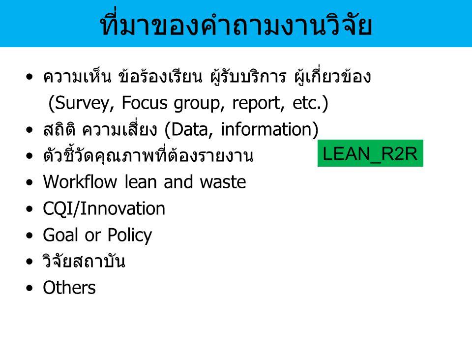 ความเห็น ข้อร้องเรียน ผู้รับบริการ ผู้เกี่ยวข้อง (Survey, Focus group, report, etc.) สถิติ ความเสี่ยง (Data, information) ตัวชี้วัดคุณภาพที่ต้องรายงาน Workflow lean and waste CQI/Innovation Goal or Policy วิจัยสถาบัน Others ที่มาของคำถามงานวิจัย LEAN_R2R