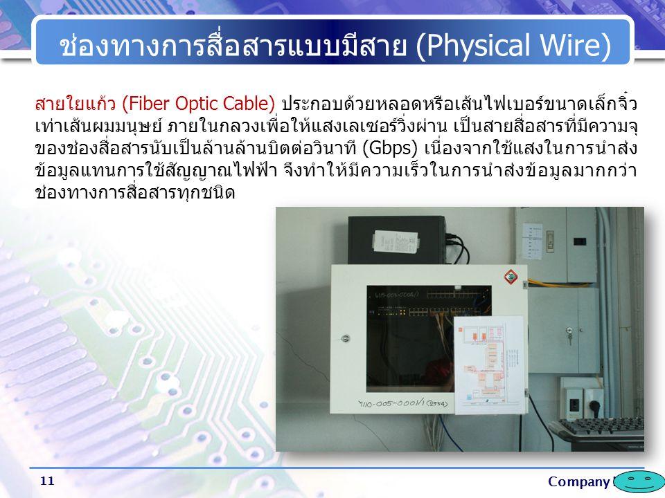 Company Logo ช่องทางการสื่อสารแบบมีสาย (Physical Wire) 11 สายใยแก้ว (Fiber Optic Cable) ประกอบด้วยหลอดหรือเส้นไฟเบอร์ขนาดเล็กจิ๋ว เท่าเส้นผมมนุษย์ ภาย