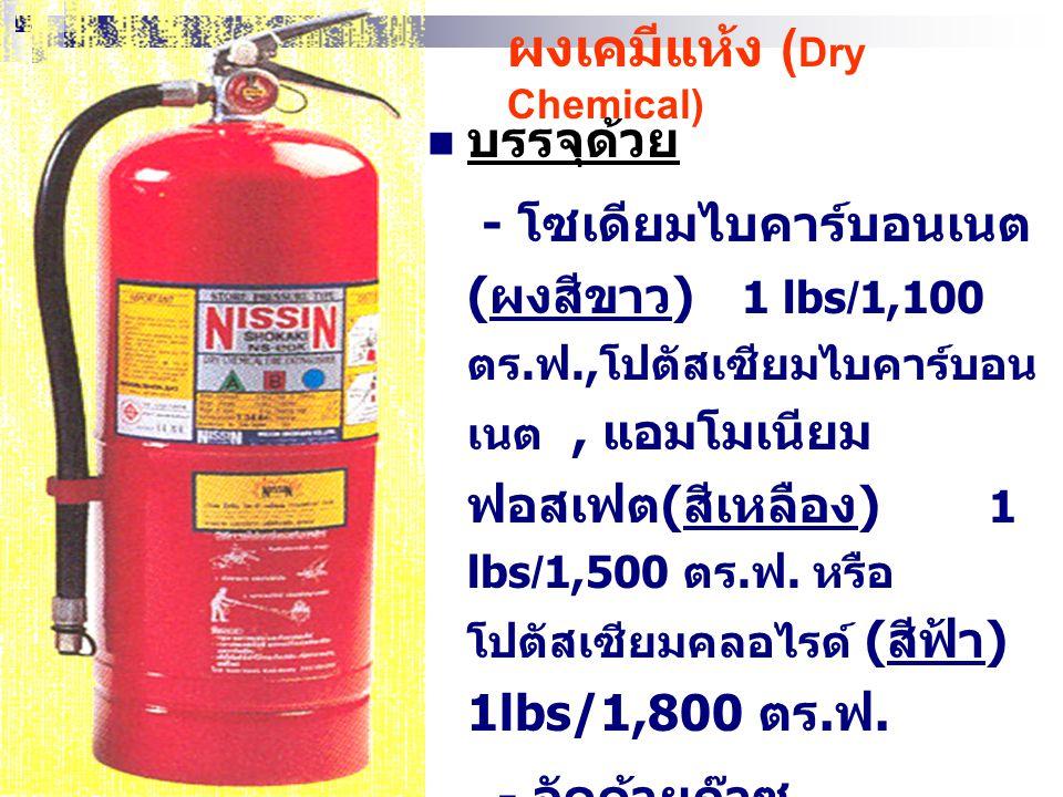 ข้อดี - ใช้ดับไฟ B และ C - สะอาด ข้อเสีย - ใช้ดับไฟ A ไม่ได้ ผลดี - ไม่สามารถดับไฟ D - เกิดภาวะการขาด ออกซิเจน - ใช้ในที่โล่งแจ้งไม่ได้ ผลดี - 3- 4 ฟุ