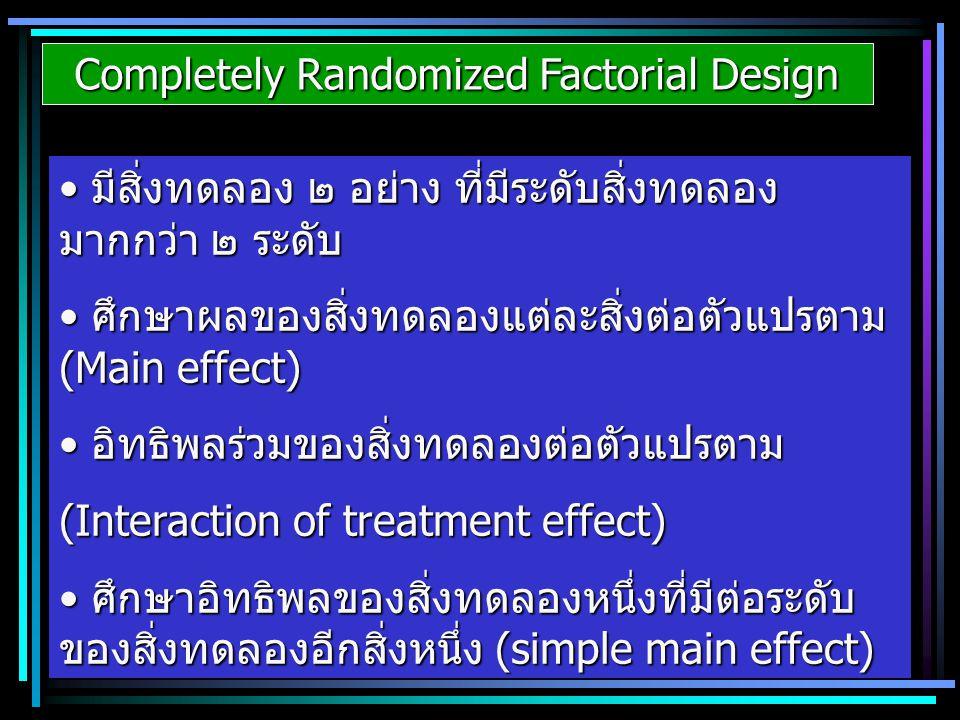 Completely Randomized Factorial Design มีสิ่งทดลอง ๒ อย่าง ที่มีระดับสิ่งทดลอง มากกว่า ๒ ระดับ มีสิ่งทดลอง ๒ อย่าง ที่มีระดับสิ่งทดลอง มากกว่า ๒ ระดับ