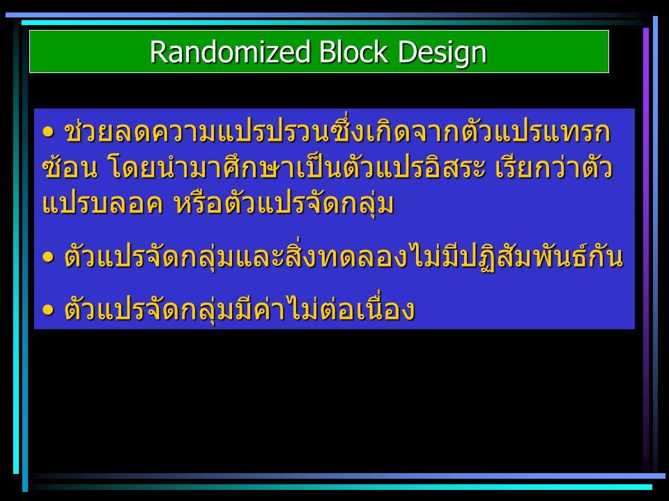 Randomized Block Design ช่วยลดความแปรปรวนซึ่งเกิดจากตัวแปรแทรก ซ้อน โดยนำมาศึกษาเป็นตัวแปรอิสระ เรียกว่าตัว แปรบลอค หรือตัวแปรจัดกลุ่ม ช่วยลดความแปรปร
