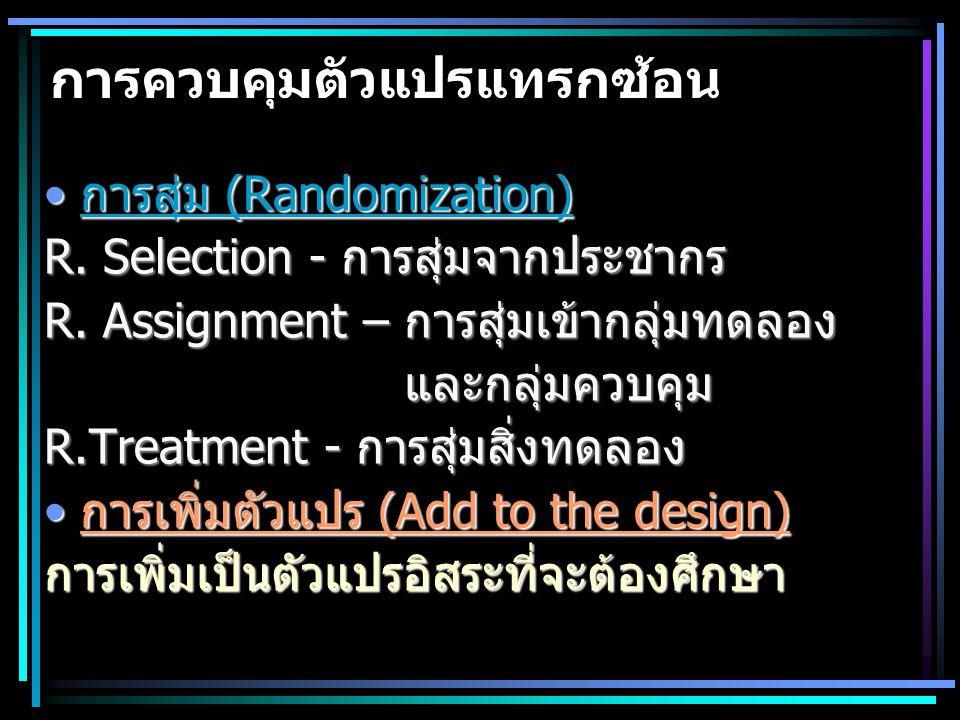 การควบคุมตัวแปรแทรกซ้อน การสุ่ม (Randomization)การสุ่ม (Randomization) R. Selection - การสุ่มจากประชากร R. Assignment – การสุ่มเข้ากลุ่มทดลอง และกลุ่ม