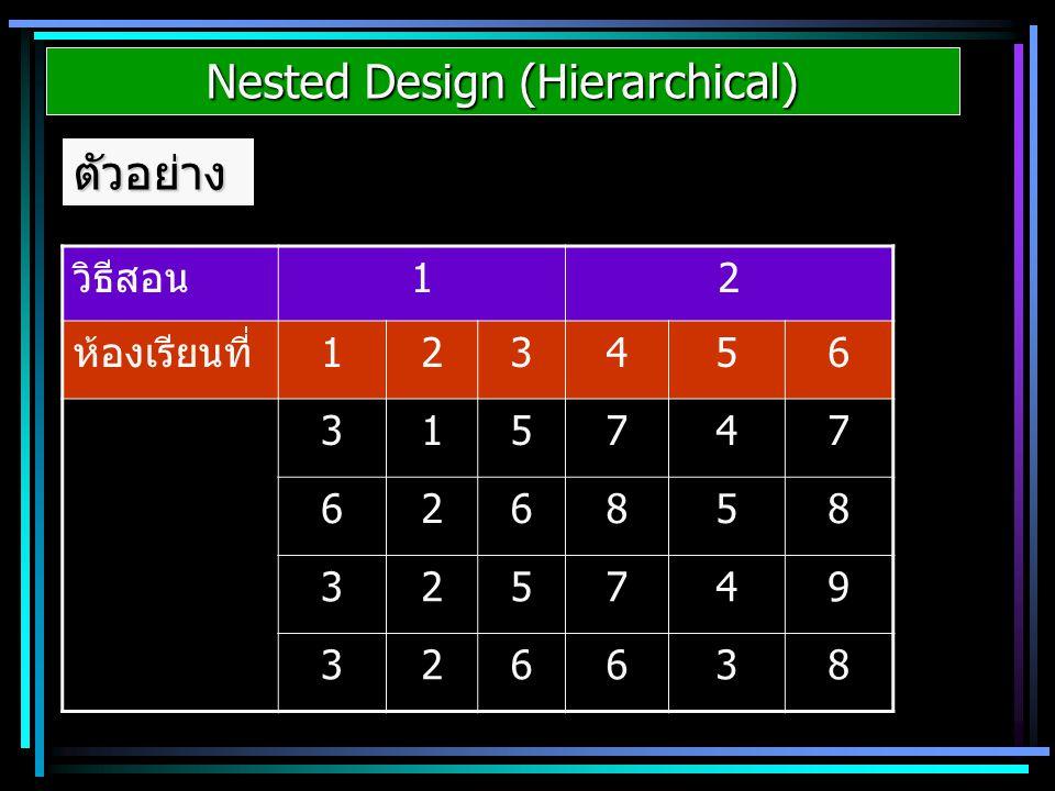 Nested Design (Hierarchical) ตัวอย่าง วิธีสอน12 ห้องเรียนที่123456 315747 626858 325749 326638