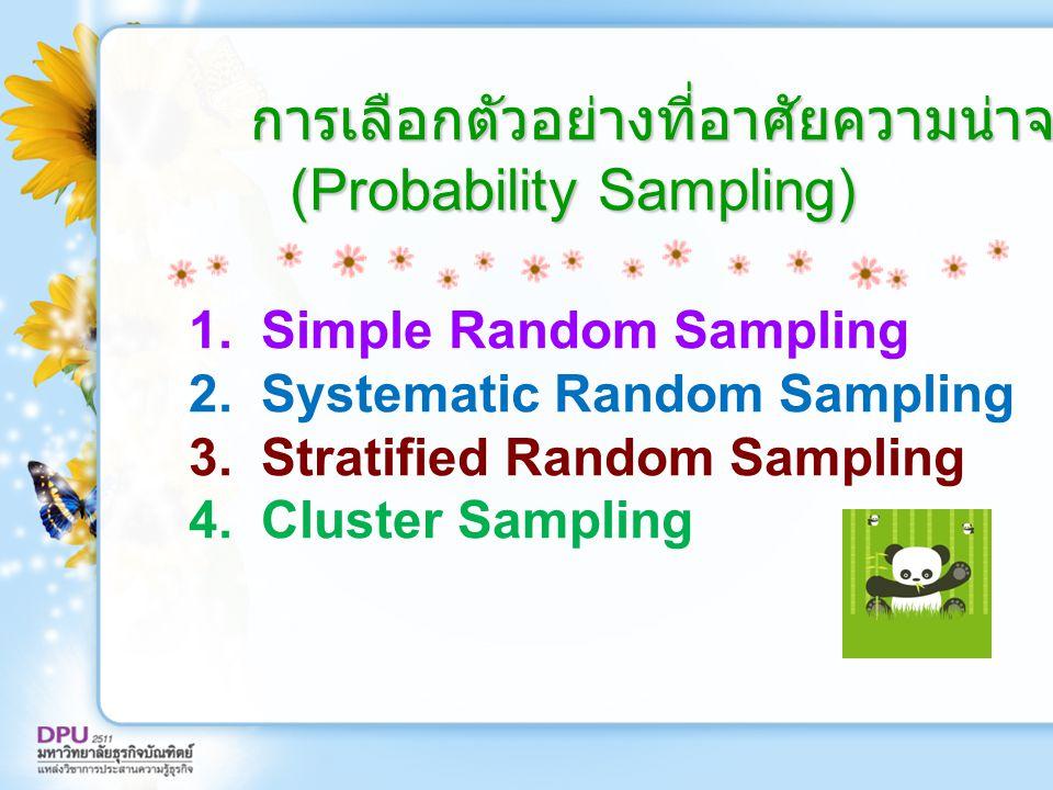 การเลือกตัวอย่างที่อาศัยความน่าจะเป็น (Probability Sampling) การเลือกตัวอย่างที่อาศัยความน่าจะเป็น (Probability Sampling) 1. Simple Random Sampling 2.