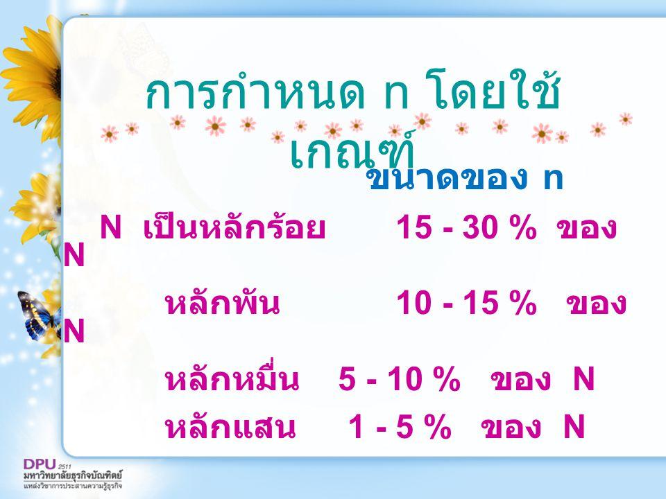 การกำหนด n โดยใช้ เกณฑ์ ขนาดของ n N เป็นหลักร้อย 15 - 30 % ของ N หลักพัน 10 - 15 % ของ N หลักหมื่น 5 - 10 % ของ N หลักแสน 1 - 5 % ของ N