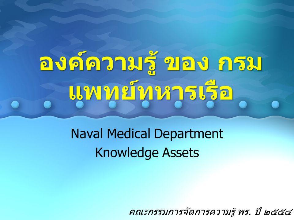 Naval Medical Department Knowledge Assets องค์ความรู้ ของ กรม แพทย์ทหารเรือ คณะกรรมการจัดการความรู้ พร. ปี ๒๕๕๔