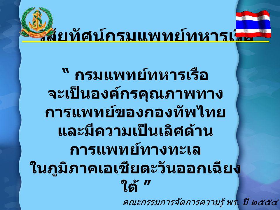 """วิสัยทัศน์กรมแพทย์ทหารเรือ """" กรมแพทย์ทหารเรือ จะเป็นองค์กรคุณภาพทาง การแพทย์ของกองทัพไทย และมีความเป็นเลิศด้าน การแพทย์ทางทะเล ในภูมิภาคเอเชียตะวันออก"""