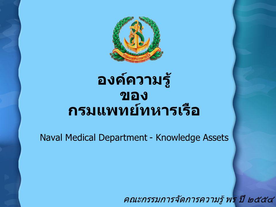 องค์ความรู้ ของ กรมแพทย์ทหารเรือ Naval Medical Department-Knowledge Assets การ เตรียม กำลังรบ KB การบริการสุขภาพเพื่อสวัสดิการกำลังพล ทร.