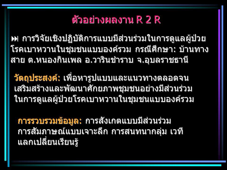 ตัวอย่างผลงาน R 2 R ตัวอย่างผลงาน R 2 R  การวิจัยเชิงปฏิบัติการแบบมีส่วนร่วมในการดูแลผู้ป่วย โรคเบาหวานในชุมชนแบบองค์รวม กรณีศึกษา: บ้านทาง สาย ต.หนอ