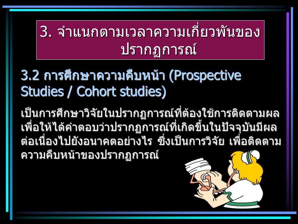 3. จำแนกตามเวลาความเกี่ยวพันของ ปรากฏการณ์ 3.2 การศึกษาความคืบหน้า (Prospective Studies / Cohort studies) เป็นการศึกษาวิจัยในปรากฏการณ์ที่ต้องใช้การติ