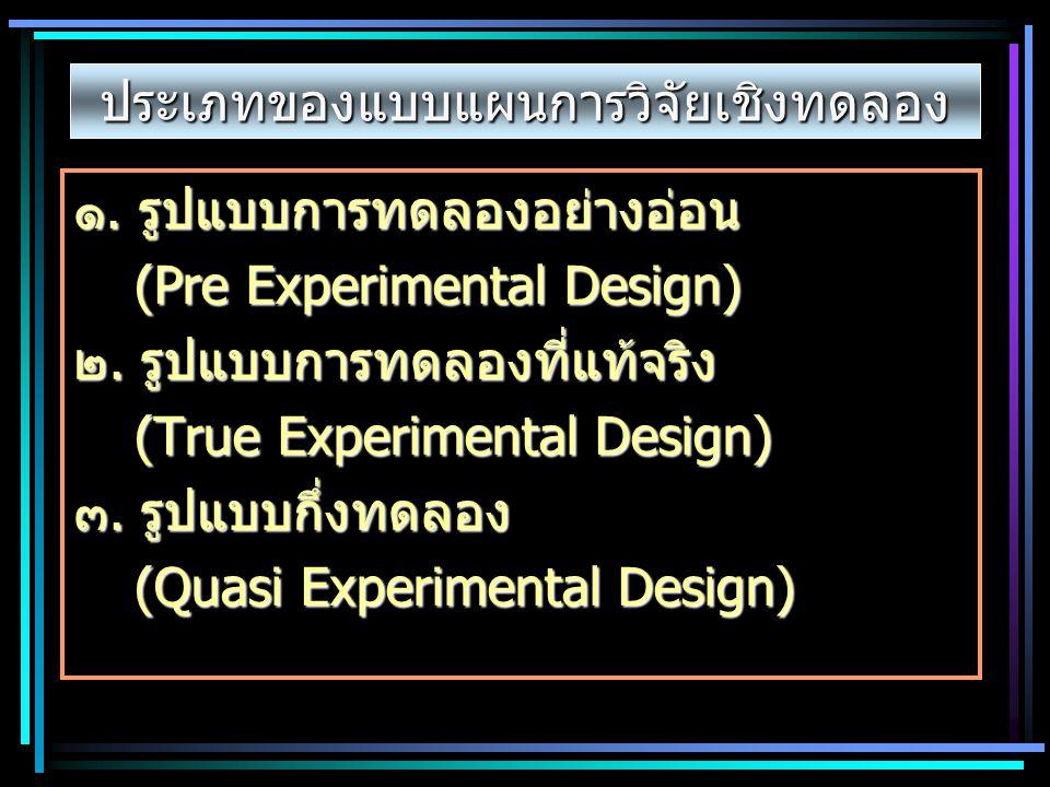 ประเภทของแบบแผนการวิจัยเชิงทดลอง ๑. รูปแบบการทดลองอย่างอ่อน (Pre Experimental Design) ๒. รูปแบบการทดลองที่แท้จริง (True Experimental Design) ๓. รูปแบบ