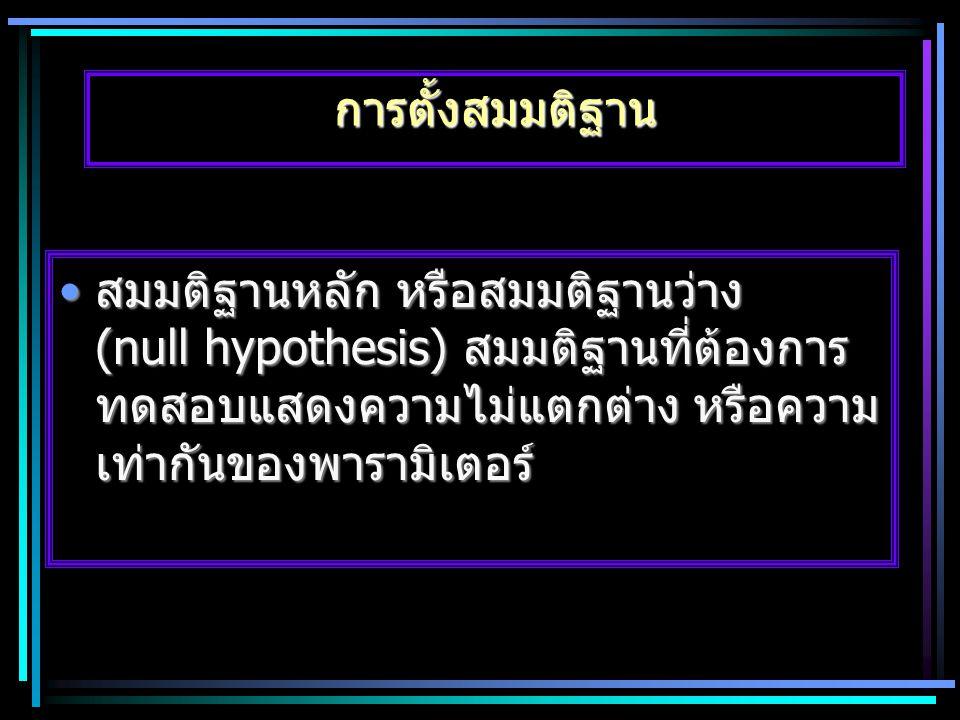 การตั้งสมมติฐาน สมมติฐานหลัก หรือสมมติฐานว่าง (null hypothesis) สมมติฐานที่ต้องการ ทดสอบแสดงความไม่แตกต่าง หรือความ เท่ากันของพารามิเตอร์สมมติฐานหลัก
