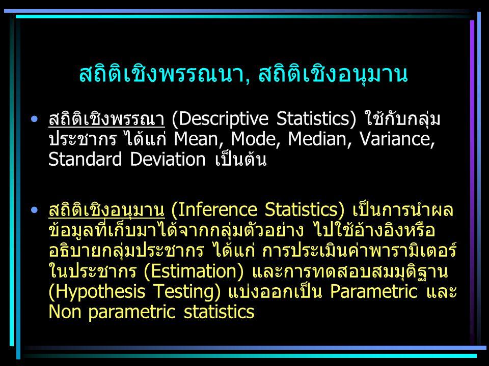 สถิติเชิงพรรณนา, สถิติเชิงอนุมาน สถิติเชิงพรรณา (Descriptive Statistics) ใช้กับกลุ่ม ประชากร ได้แก่ Mean, Mode, Median, Variance, Standard Deviation เ