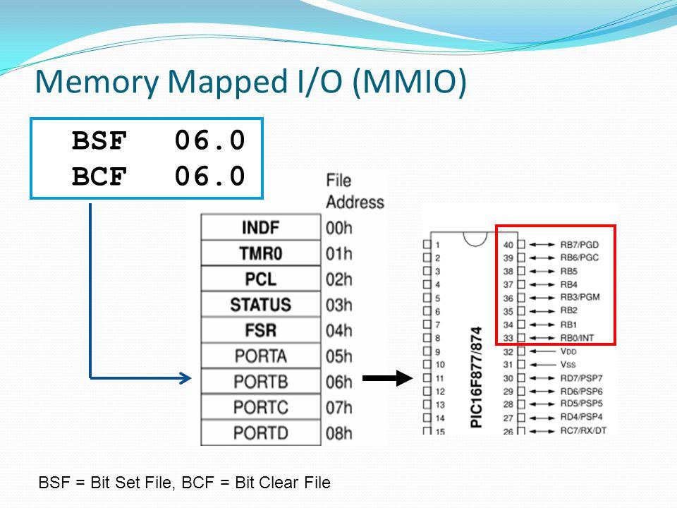 Memory Mapped I/O (MMIO) BSF06.0 BCF06.0 BSF = Bit Set File, BCF = Bit Clear File