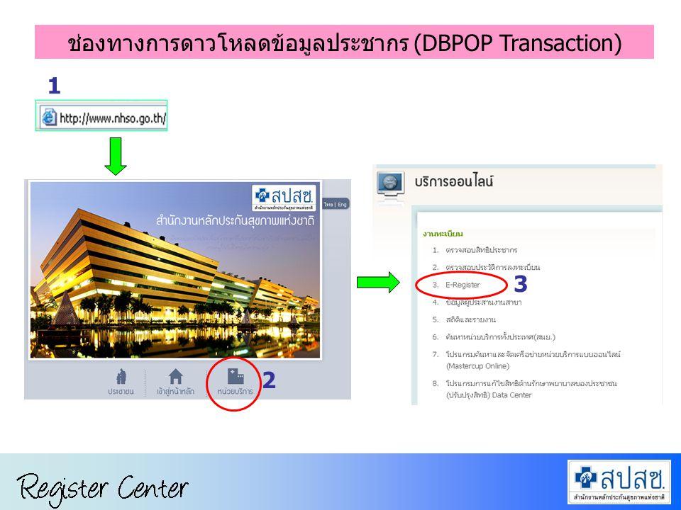 การขึ้นทะเบียนหน่วยบริการ ในระบบ Data Center 4 Log in username และ password เดียวกับดาวโหลด RTR 5 ช่องทางการดาวโหลดข้อมูลประชากร (DBPOP Transaction)