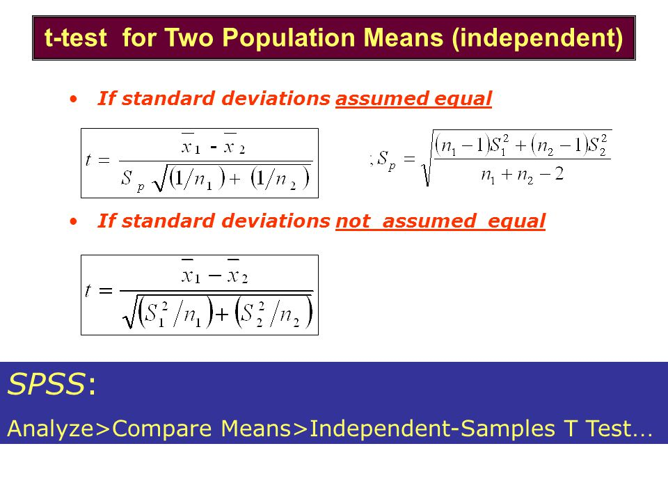 If standard deviations assumed equal If standard deviations not assumed equal t-test for Two Population Means (independent) SPSS: Analyze>Compare Mean