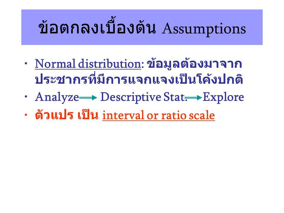 ข้อตกลงเบื้องต้น Assumptions Normal distribution: ข้อมูลต้องมาจาก ประชากรที่มีการแจกแจงเป็นโค้งปกติ Analyze Descriptive Stat.