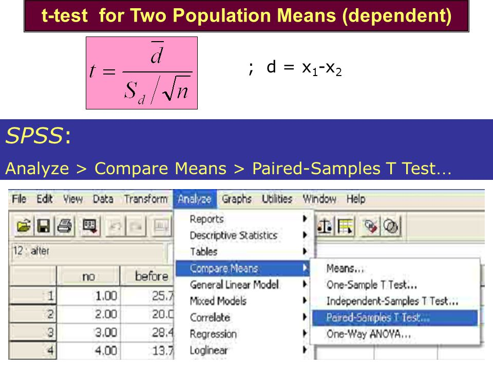 t-test for Two Population Means (dependent) SPSS: Analyze > Compare Means > Paired-Samples T Test … ; d = x 1 -x 2
