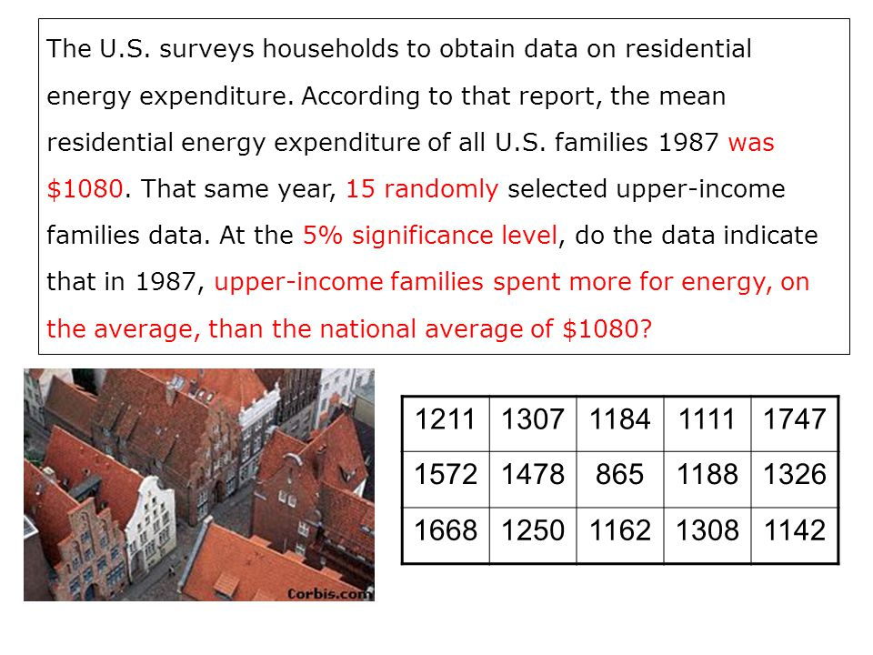 The U.S. surveys households to obtain data on residential energy expenditure. According to that report, the mean residential energy expenditure of all