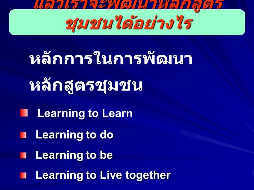 หลักการในการพัฒนา หลักสูตรชุมชน Learning to Learn Learning to do Learning to do Learning to be Learning to be Learning to Live together Learning to Live together แล้วเราจะพัฒนาหลักสูตร ชุมชนได้อย่างไร