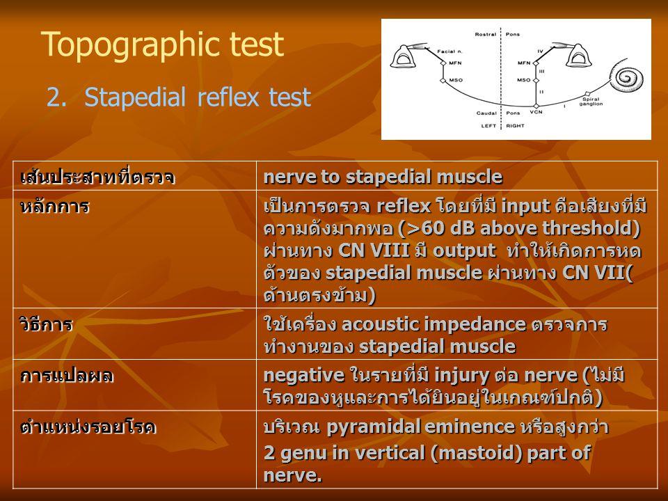 Topographic test 2. Stapedial reflex test เส้นประสาทที่ตรวจ nerve to stapedial muscle หลักการ เป็นการตรวจ reflex โดยที่มี input คือเสียงที่มี ความดังม