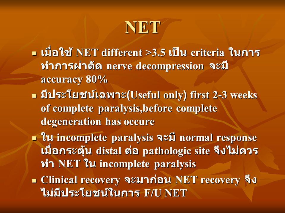 NET เมื่อใช้ NET different >3.5 เป็น criteria ในการ ทำการผ่าตัด nerve decompression จะมี accuracy 80% เมื่อใช้ NET different >3.5 เป็น criteria ในการ