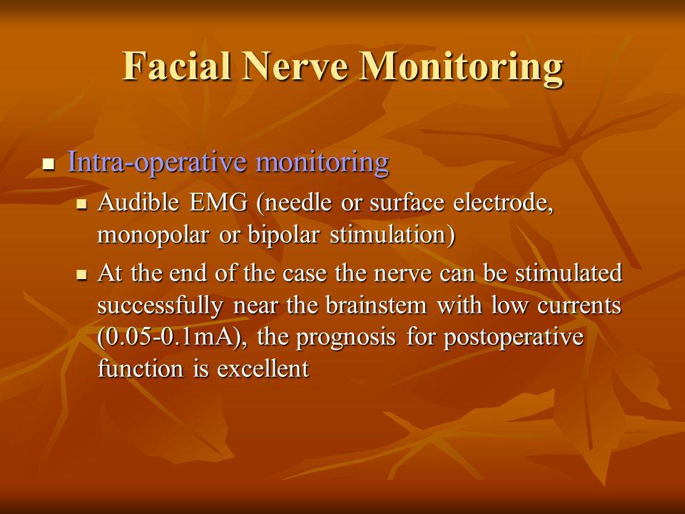 Facial Nerve Monitoring Intra-operative monitoring Intra-operative monitoring Audible EMG (needle or surface electrode, monopolar or bipolar stimulati