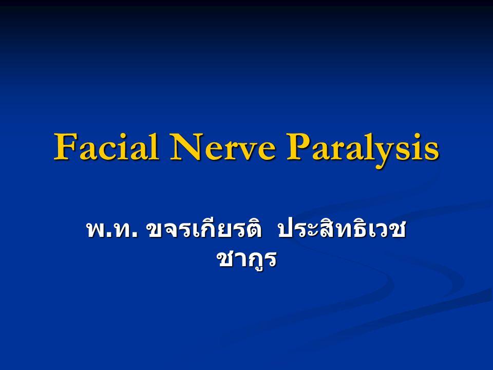 Facial Nerve Paralysis พ. ท. ขจรเกียรติ ประสิทธิเวช ชากูร
