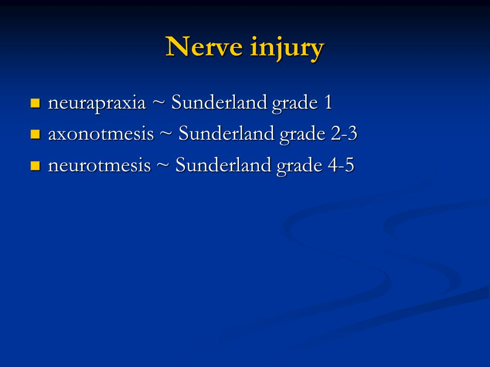 Nerve injury neurapraxia ~ Sunderland grade 1 neurapraxia ~ Sunderland grade 1 axonotmesis ~ Sunderland grade 2-3 axonotmesis ~ Sunderland grade 2-3 n