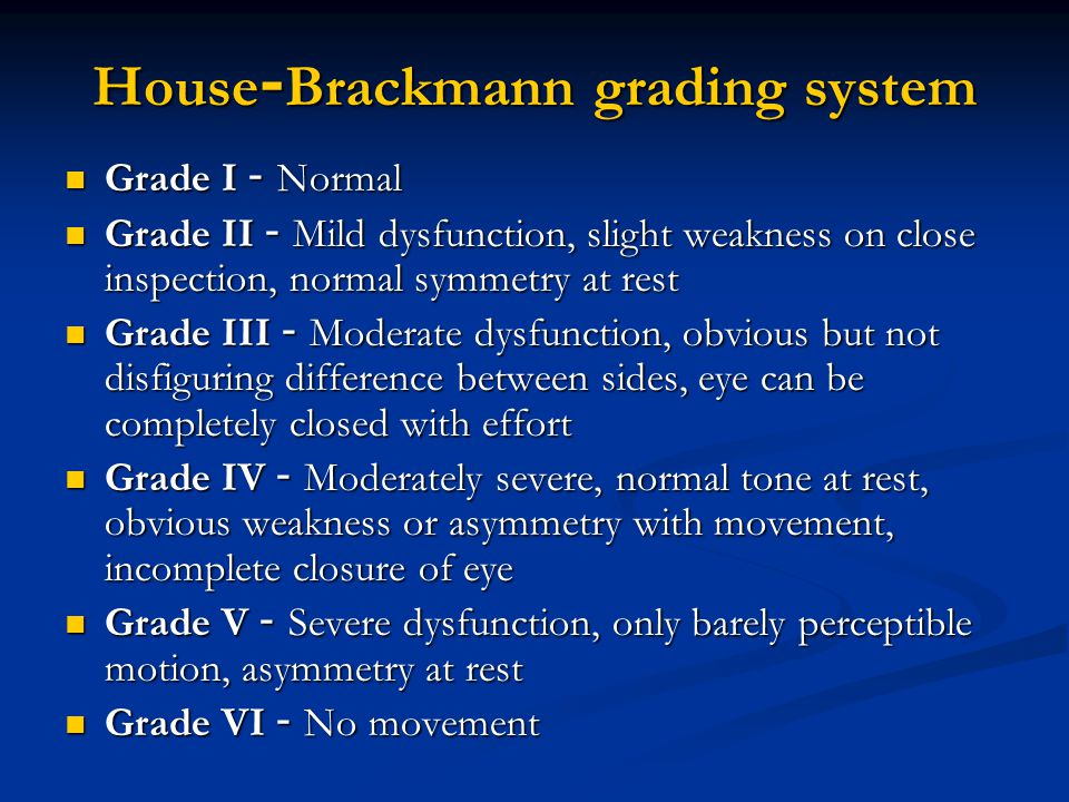 House-Brackmann grading system Grade I - Normal Grade I - Normal Grade II - Mild dysfunction, slight weakness on close inspection, normal symmetry at
