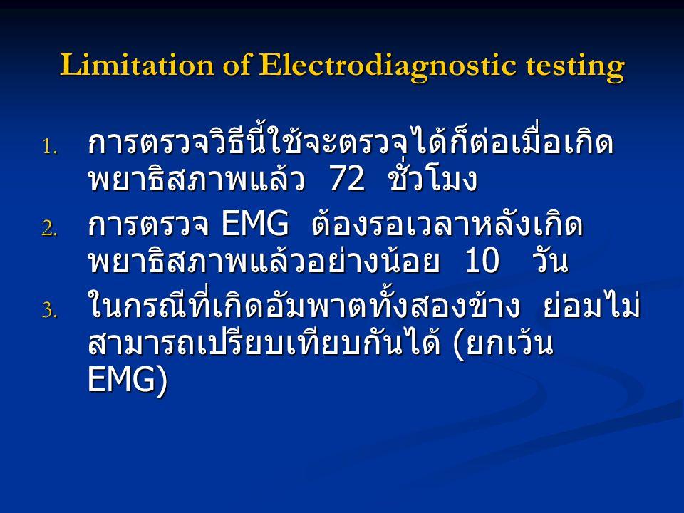 Limitation of Electrodiagnostic testing 1. การตรวจวิธีนี้ใช้จะตรวจได้ก็ต่อเมื่อเกิด พยาธิสภาพแล้ว 72 ชั่วโมง 2. การตรวจ EMG ต้องรอเวลาหลังเกิด พยาธิสภ