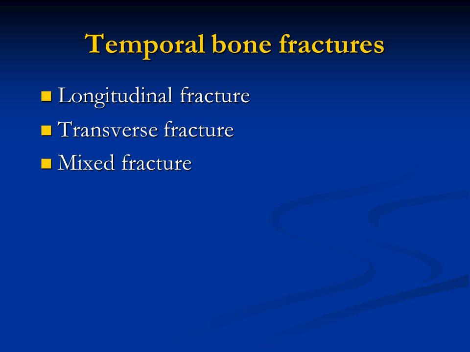 Temporal bone fractures Longitudinal fracture Longitudinal fracture Transverse fracture Transverse fracture Mixed fracture Mixed fracture