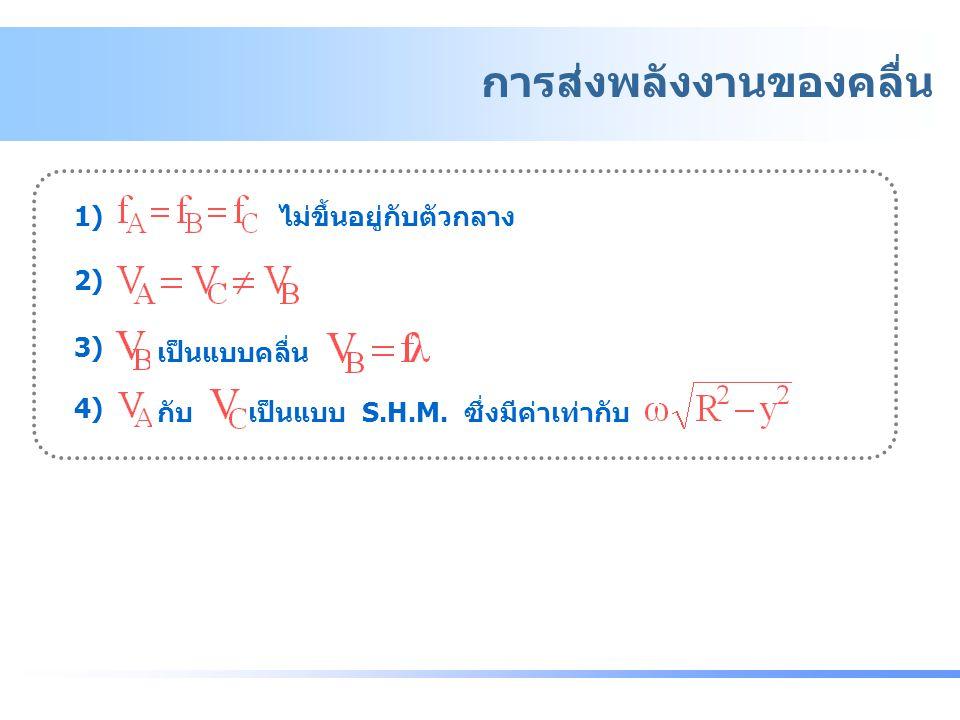 1) ไม่ขึ้นอยู่กับตัวกลาง 2) 3) เป็นแบบคลื่น 4) กับ เป็นแบบ S.H.M. ซึ่งมีค่าเท่ากับ การส่งพลังงานของคลื่น - การส่งพลังงานของคลื่น