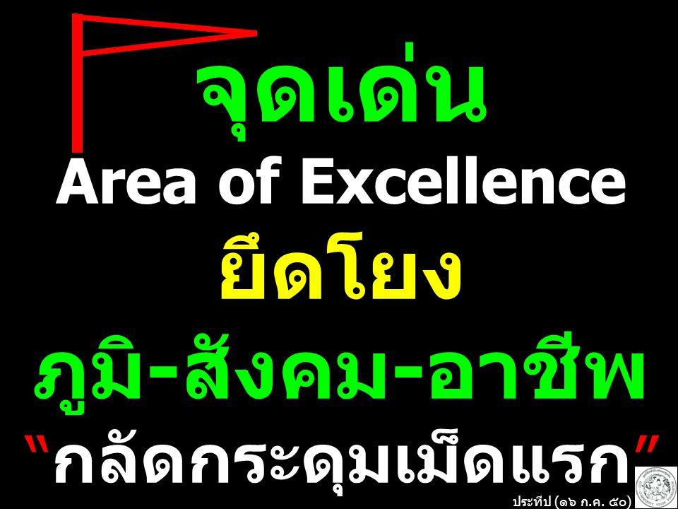 จุดเด่น Area of Excellence ยึดโยง ภูมิ-สังคม-อาชีพ กลัดกระดุมเม็ดแรก ประทีป (๑๖ ก.ค. ๕๐)