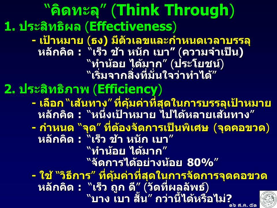 """""""คิดทะลุ"""" (Think Through) 1. ประสิทธิผล (Effectiveness) - เป้าหมาย (ธง) มีตัวเลขและกำหนดเวลาบรรลุ หลักคิด : """"เร็ว ช้า หนัก เบา"""" (ความจำเป็น) หลักคิด :"""