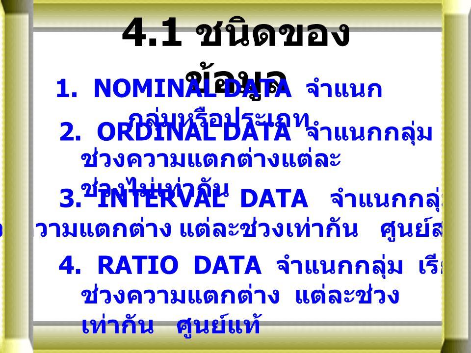 4 4.1 ชนิดของ ข้อมูล 1. NOMINAL DATA จำแนก กลุ่มหรือประเภท 2. ORDINAL DATA จำแนกกลุ่ม เรียงอันดับ ช่วงความแตกต่างแต่ละ ช่วงไม่เท่ากัน 3. INTERVAL DATA