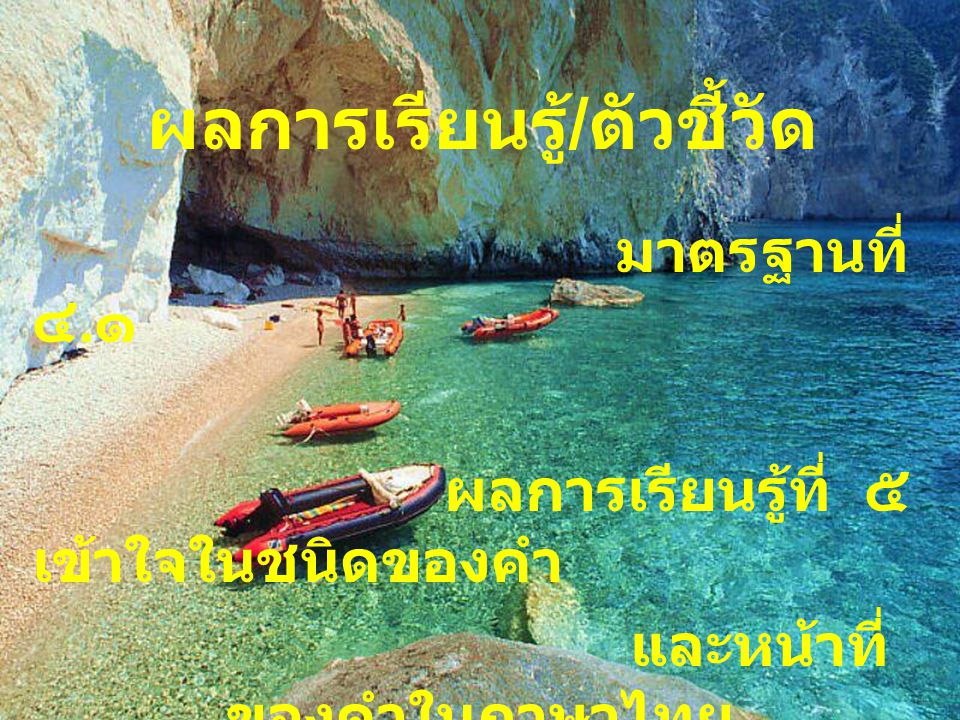 ชนิดของคำในภาษาไทย วิชา ภาษาไทย ชั้นมัธยมศึกษาปีที่ ๖ ผู้จัดทำ ครูวีรพงศ์ วิเศษสวัสดิ์