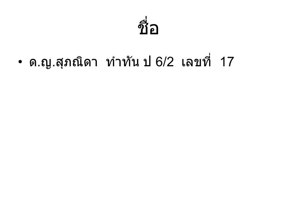 ชื่อ ด. ญ. สุภณิดา ทำทัน ป 6/2 เลขที่ 17