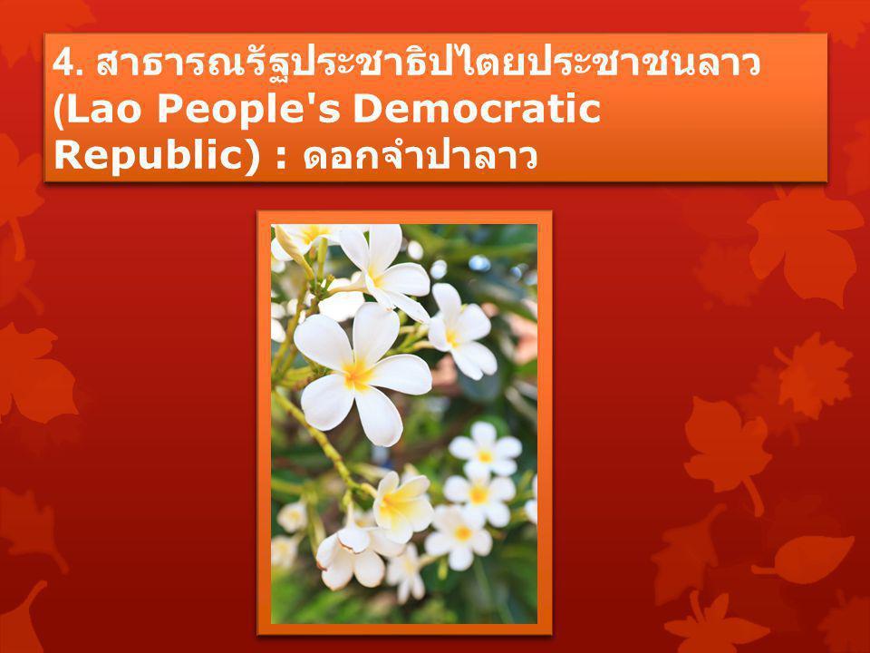 4. สาธารณรัฐประชาธิปไตยประชาชนลาว (Lao People's Democratic Republic) : ดอกจำปาลาว