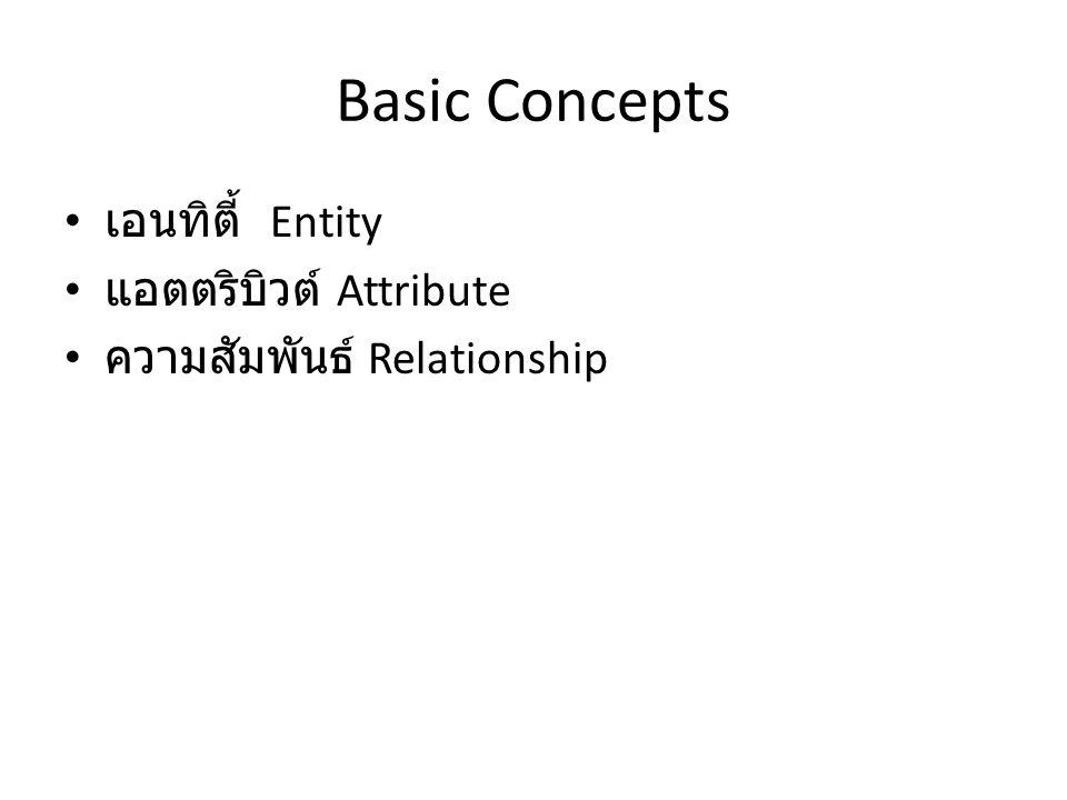 Basic Concepts เอนทิตี้ Entity แอตตริบิวต์ Attribute ความสัมพันธ์ Relationship