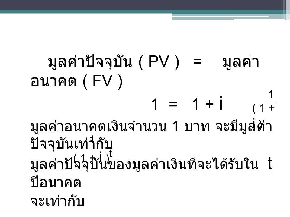 มูลค่าปัจจุบัน ( PV ) = มูลค่า อนาคต ( FV ) 1 = 1 + i มูลค่าอนาคตเงินจำนวน 1 บาท จะมีมูลค่า ปัจจุบันเท่ากับ มูลค่าปัจจุบันของมูลค่าเงินที่จะได้รับใน t