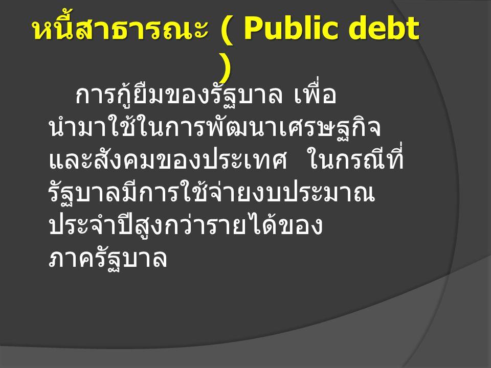 การกู้ยืมของรัฐบาล เพื่อ นำมาใช้ในการพัฒนาเศรษฐกิจ และสังคมของประเทศ ในกรณีที่ รัฐบาลมีการใช้จ่ายงบประมาณ ประจำปีสูงกว่ารายได้ของ ภาครัฐบาล หนี้สาธารณ