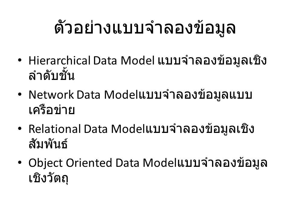 ตัวอย่างแบบจำลองข้อมูล Hierarchical Data Model แบบจำลองข้อมูลเชิง ลำดับชั้น Network Data Model แบบจำลองข้อมูลแบบ เครือข่าย Relational Data Model แบบจำ