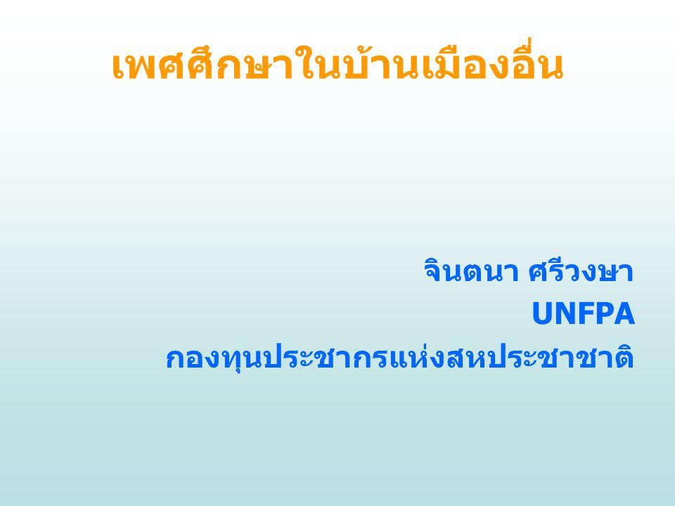 เพศศึกษาในบ้านเมืองอื่น จินตนา ศรีวงษา UNFPA กองทุนประชากรแห่งสหประชาชาติ