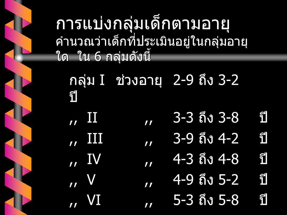 กลุ่ม I ช่วงอายุ 2-9 ถึง 3-2 ปี,,II,,3-3 ถึง 3-8 ปี,,III,,3-9 ถึง 4-2 ปี,,IV,,4-3 ถึง 4-8 ปี,,V,,4-9 ถึง 5-2 ปี,,VI,,5-3 ถึง 5-8 ปี การแบ่งกลุ่มเด็กตามอายุ คำนวณว่าเด็กที่ประเมินอยู่ในกลุ่มอายุ ใด ใน 6 กลุ่มดังนี้