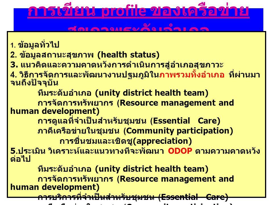 การเขียน profile ของเครือข่าย สุขภาพระดับอำเภอ 1. ข้อมูลทั่วไป 2. ข้อมูลสถานะสุขภาพ (health status) 3. แนวคิดและความคาดหวังการดำเนินการสู่อำเภอสุขภาวะ