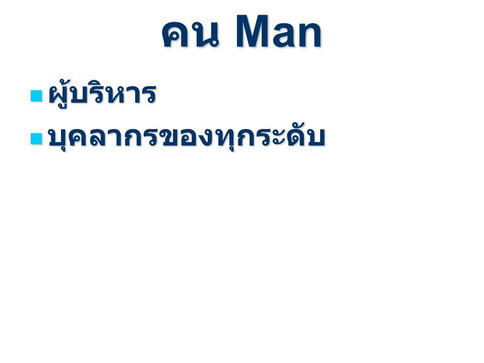 คน Man ผู้บริหาร ผู้บริหาร บุคลากรของทุกระดับ บุคลากรของทุกระดับ