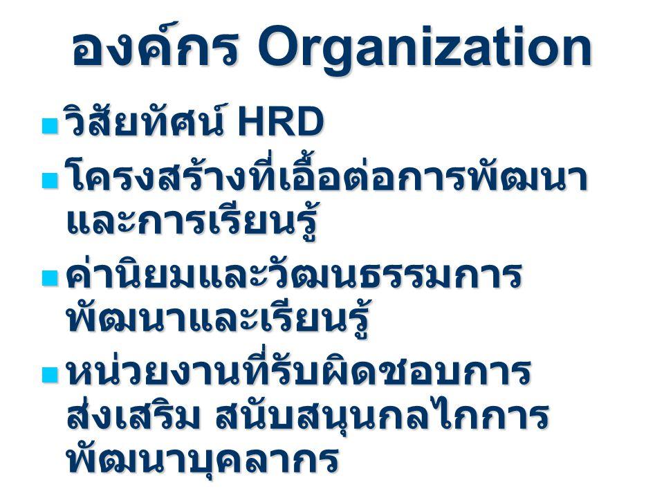 องค์กร Organization วิสัยทัศน์ HRD วิสัยทัศน์ HRD โครงสร้างที่เอื้อต่อการพัฒนา และการเรียนรู้ โครงสร้างที่เอื้อต่อการพัฒนา และการเรียนรู้ ค่านิยมและวั